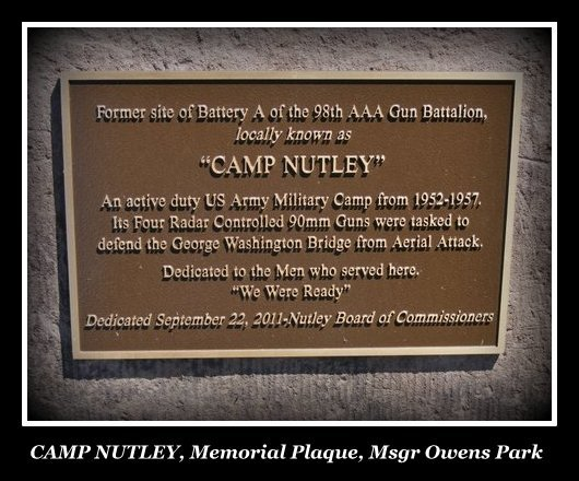 Plaque commemoratin US Army Military Camp in Nutley, NJ, during the Cold War